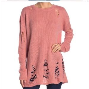 Show me your mumu  destroyed sweater pink small